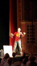 Stephen Fite entertains Lowell Kindergartners