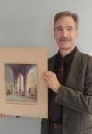 "Bradley Leftwich displays Grace Raymond's ""Cloister of Sixteenth Century Cathedral"""